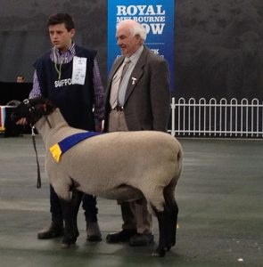 Gus and Judge, Kevin Moore and the winning ASSBA Shortwool Ram under 1.5 years.